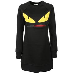 Fendi Black Bag Bugs Sweatshirt Dress ($625) ❤ liked on Polyvore featuring dresses, crew neck maxi dress, crew neck dress, sweatshirt maxi dress, sweatshirt dress and cotton dresses