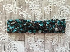 Tiny Purple/Teal Floral Knotted Headwrap