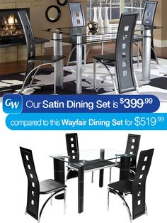 Our Satin 5-Piece Dining Set is this week's #LooksForLess!  The Satin Collection creates a bold contemporary look for any modern kitchen or dining room. The table features a satin silver finish, cylinder chrome legs, a second shelf and smoked glass top. The eccentric chairs have seat backs with square cutouts.  Pin it today!