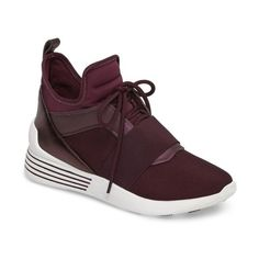 Women's Kendall + Kylie Braydin Sneaker (2,400 EGP) ❤ liked on Polyvore featuring shoes, sneakers, eggplant satin, high top shoes, high top trainers, kendall kylie shoes, eggplant shoes and hi tops