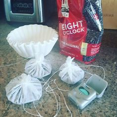 Can't live without your morning coffee? Pour some coffee in filters and tie them with some dental floss...