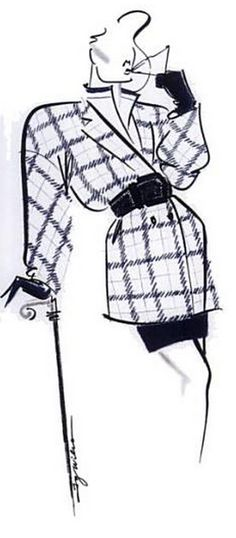 Fashion illustration by Ty Wilson, 1990, Paul Costelloe.