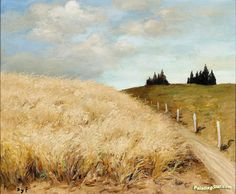 Wheat Field Artwork By Marcel Dyf Oil Painting & Art Prints On Canvas For Sale Watercolor Landscape, Landscape Art, Landscape Paintings, Watercolor Art, Poppy Drawing, Acrylic Painting Tips, Acrylic Paintings, Wheat Fields, Post Impressionism