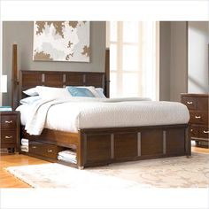 Broyhill Eastlake 2 Poster Sinlge Underbed Storage Bed in Brown Cherry - Create a designer look in your modern bedroom with the dramatic Eastlake 2 Storage Poster Bed. The high headboard, linear woodwork, and warm, brown-cherry finish have a fresh contemporary look.