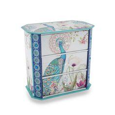 Sparkling Peafowl Flower Garden 3-Drawer Jewelry Box, Blue