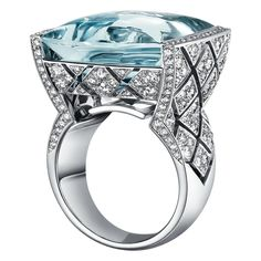 """Signature Acidulée"" Ring from the Signature De Chanel Fine Jewellery Collection ~ Set in 18k white gold  with 23ct cabochon cut aquamarine and 216 brilliant-cut diamonds, January 2016"