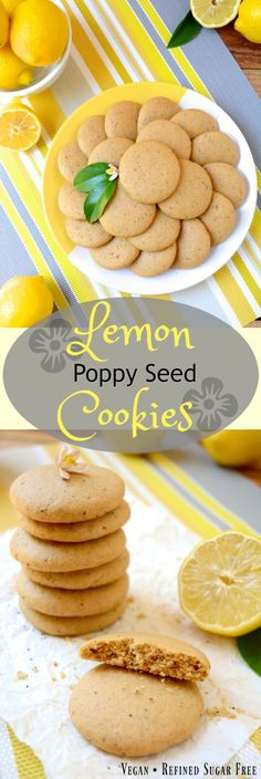 Soft, Vegan Lemon Poppy Seed Cookies, a simple recipe that's bursting with fresh lemon flavor. These melt-in-your-mouth cookies are free of egg, dairy and refined sugar –which makes them a healthier option! Flavored with fresh squeezed lemon juice, these soft and tender cookies are sure to be your new favorite treat! #vegan #cookies #lemoncookies #veganlemoncookies