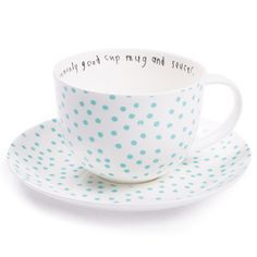 Lisa Stickley London : uncommonly good cup mug and saucer, ls dot old blue