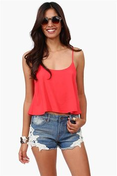 Clean And Simple Tank in Tomato and adorable shorts