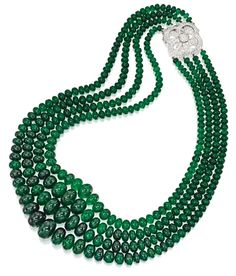 18 Karat White Gold, Emerald Bead and Diamond Necklace