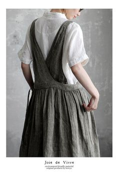 Apron Dress, Dress Skirt, Knot Dress, Wrap Dress, Vestidos Jumper, Mori Girl Fashion, Estilo Hippie, Apron Designs, Linen Dresses