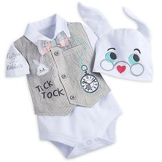 White Rabbit Bodysuit Gift Set for Baby. For baby chris Outfits With Hats, Baby Boy Outfits, Kids Outfits, Disney Baby Clothes, Baby Kids Clothes, Disney Baby Outfits, Disney Babys, Baby Kostüm, Rabbit Baby