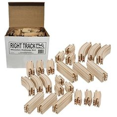 Wooden Train Track 100 Piece Pack - 100% Compatible with All Major Brands including Thomas Wooden Railway System - By Right Track Toys Right Track Toys