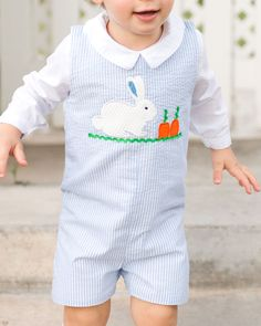 0846a7c97 Personalized Easter Outfit - Monogrammed Easter Jon Jon -Seersucker ...