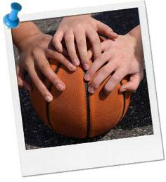 Basketball party photo op and game - have the kids play horse or a half court basketball game #basketball #sports #birthday