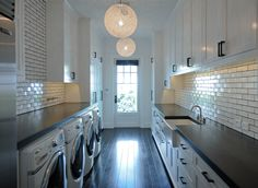Love the white subway tiles with the black grout Laundry Area, Laundry Rooms, Adam Hunter, Brick Works, Black Grout, White Subway Tiles, Laundry Hacks, Waterworks, French Provincial