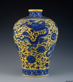Rare Yellow And Blue Glazed Vase (Meiping) | Sunrise Art - Fine Chinese Arts Gallery - Provide Chinese Antiques Including China Porcelain, Vases and Bronze
