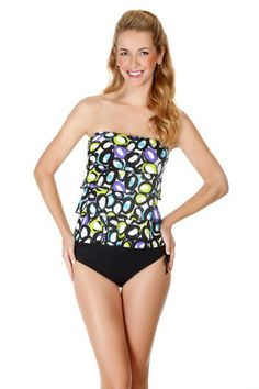 Caribbean Joe life saver print ruffle bandeau tankini top. This women's swimwear top has a shelf bra and padded cups. Mix and match bathing suits. Each piece is sold separately. Style # 861680. Caribbean Joe life saver print ruffle bandeau tankini top.