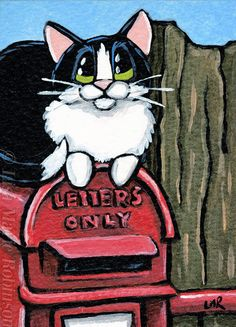 Original #TuxedoCat #ACEO by Lisa Marie Robinson, Postbox, Mailbox, Animals. Auction ends 9 September, 2014