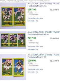 WOW, where are prices heading? These cards ARE very rare but the prices are always UP. 20 years ago we would never have dreamed, 5 years ago we would never have dreamed... even today it seems amazing but it is constantly upwards, this cards curve, for very rare cards. The cards above are sales results, prices in green are actual sales prices & bidder numbers are also displayed. Weak Pound Sterling = good time for foreign buyers and no difference to British buyers. A good time to buy rare…