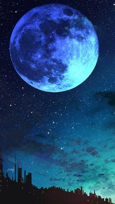 Blue moon - RoDé Prokop - Space Everything Cute Galaxy Wallpaper, Night Sky Wallpaper, Glitch Wallpaper, Planets Wallpaper, Scenery Wallpaper, Landscape Wallpaper, Cute Wallpaper Backgrounds, Beautiful Nature Wallpaper, Beautiful Moon
