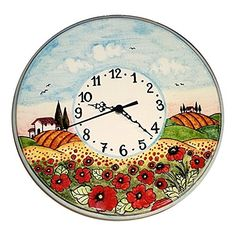 Handmade Home Décor CERAMICHE D'ARTE PARRINI - Italian Ceramic Wall Clock Decorated Landscape Poppies Hand Painted Made in ITALY Tuscan Art Pottery * Continue to the product at the image link.