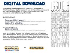 The Digital Download of issue 3 is out! It has stories by Leena Likitalo and Kate Hearfield, plus the Mary Robinette Kowal and Aliette de Bodard interviews. And it has some exclusives:     Featured Film Maker: Sam Taylor & Bjorn Aschim    An Interview with Victoria Mather    A Chat with Evan Viera    Screen Gems - Film Reviews.    Head on over and download away!      http://waylinesmagazine.com/issue3ddindex.html