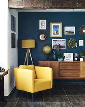Curtains for Blue Living Room Wall. 21 Curtains for Blue Living Room Wall. Maybe A Blue Wall with A Yellow Shelf Dark Blue Bedroom Walls, Blue Accent Walls, Blue Rooms, Blue And Yellow Living Room, Dark Walls, Bedroom Yellow, Living Room Ideas Dark Blue, Blue Living Room Walls, Dark Bedrooms