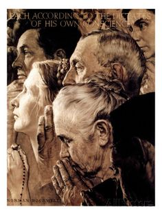 """Freedom of Worship"", February 27,1943 Lámina giclée por Norman Rockwell en AllPosters.es"