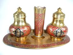 Vintage Brass Enamel Salt and Pepper Shakers Red by ChromaticWit, $9.99