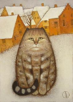 Winter cat by Natalya Trubina - Tomik Gatos Cool, Frida Art, Winter Cat, Son Chat, Super Cat, Naive Art, Cat Drawing, Cats And Kittens, Kitty Cats