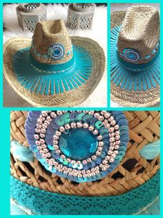 Ibiza hat hoed Ibizahat ibizahoed bohemian summer beach Sussy G Bandanas, Painted Hats, Boho Hat, Races Fashion, Ibiza Fashion, Bohemian Summer, Diy Hat, Gypsy Jewelry, Summer Hats