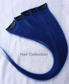 "Hair Collection-12"" Blue 100% Human Hair Clip in on Extensions - 1.6""widex5pcs by Hair Collection. $22.99"