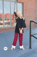 Kids Red & Black Party Pants