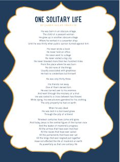 One Solitary Life Poem Printable Danny Hahlbohm All