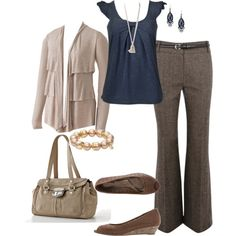 Like the colors. Not loving jewelry shoes or bag, but pants shirt and sweater are cute!