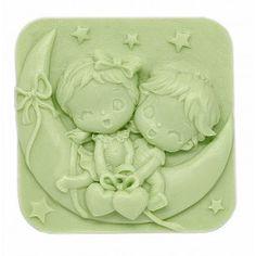 Molde de silicona, pastilla jabón Niños en Luna. Molde para hacer pastillas de jabón en 2D. Perfectas para hacer detalles de comunión y de bautizo. Aptas para hacer jabones de glicerina. DIY.