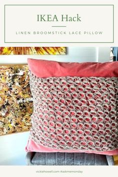 Using beautiful, crisp linen yarn, and an old-school technique, I create a Broomstick Lace panel to add texture and dimension to an IKEA Sanela pillow. Watch the tutorial, then make it your own.