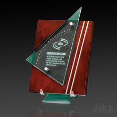 Engraving Included Prime Fundraiser Jade Pyramid Crystal Award 6 H Custom Fundraiser Award