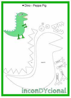 molde para hacer a george pig en - Ahmet Dede Dinosaure Peppa Pig, Molde Peppa Pig, Peppa E George, George Pig Cake, George Pig Party, Peppa Big, Pig Costumes, Pig Birthday Cakes, Quiet Book Templates