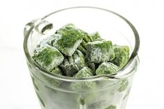 Spinach in the freezer for quick meals and smoothies