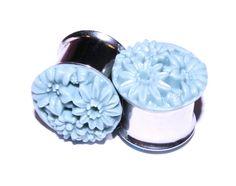 "Plugs 5/8"" inch (16mm) Tunnels Blue Flower Pretty Formal Prom Glitter Ear Gauges Earrings for Stretched Ear Piercings (Steel, double-flared). $21.99, via Etsy."