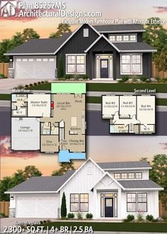 Plan Exclusive New American House Plan with Alternate Exterior Plan Exclusive New American House Plan with Alternate Exterior Alina Architecture Introducing Architectural Designs Country Home Plan nbsp hellip 4 Bedroom House Plans, New House Plans, Country House Plans, Dream House Plans, Small House Plans, House Floor Plans, Simple Floor Plans, Basement Floor Plans, American Houses