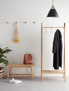 House by John Lewis Bamboo Clothes Rail with Shelf - Decor Diy Home Diy Clothes Rail, Clothes Rail With Shelves, Clothes Hanger Rack, Shoe Tidy, Bamboo Shoe Rack, Shoe Bench, Hallway Storage, Diy Coffee Table, Decoration