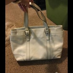 Coach White Leather Diaper Bag Coach White Leather Diaper Bag w/changing pad. Multiple inside pockets & two large side outside pockets Coach Bags Baby Bags