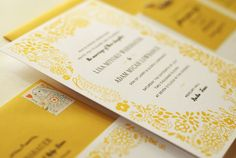 Black and White and Yellow Wedding Invitation