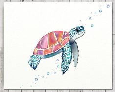 Turtle Print Wall Canvas, Free Standing Turtle Print, Sea Turtle On Canvas, Sea Turtle Print On Canv Jellyfish Drawing, Jellyfish Painting, Watercolor Jellyfish, Jellyfish Tattoo, Jellyfish Quotes, Jellyfish Facts, Jellyfish Tank, Jellyfish Aquarium, Aquarium Fish