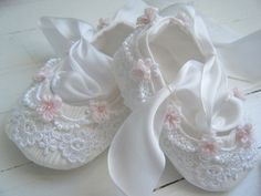 Ballet Shoe White Lace Pink Baby Girl from Bobka Baby on Etsy
