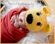 Halloween SALE - Honey Bear Crocheted Cotton Hat - Great Photo Prop. $12.99, via Etsy.