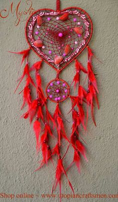 Buy exclusive range of a Valentine Dreamcatchers only on… Dream Catcher Art, Dream Catcher Mobile, Diy Dream Home, Halloween Contacts, Dream Fantasy, Medicine Wheel, Feather Painting, Love Days, Native American Art
